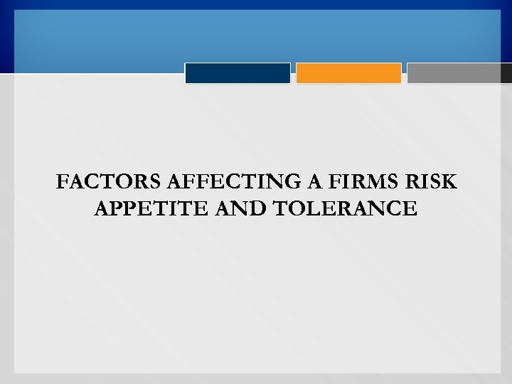 FACTORS AFFECTING A FIRMS RISK APPETITE AND TOLERANCE