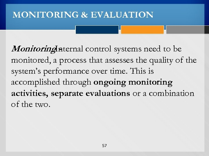 MONITORING & EVALUATION Monitoring. Internal control systems need to be monitored, a process that