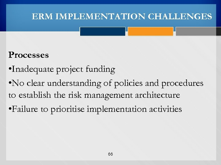 ERM IMPLEMENTATION CHALLENGES Processes • Inadequate project funding • No clear understanding of policies