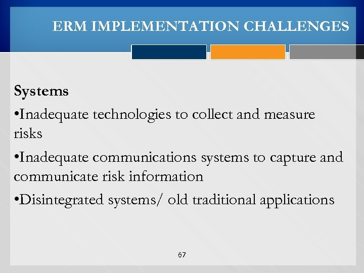 ERM IMPLEMENTATION CHALLENGES Systems • Inadequate technologies to collect and measure risks • Inadequate