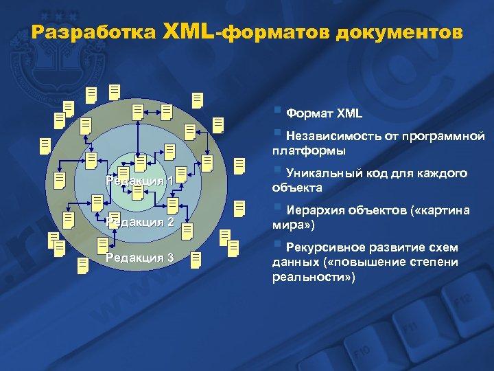 Разработка XML-форматов документов § Формат XML § Независимость от программной платформы Редакция 1 Редакция