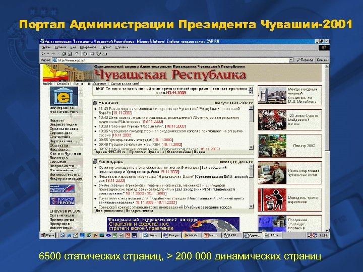Портал Администрации Президента Чувашии-2001 6500 статических страниц, > 200 000 динамических страниц