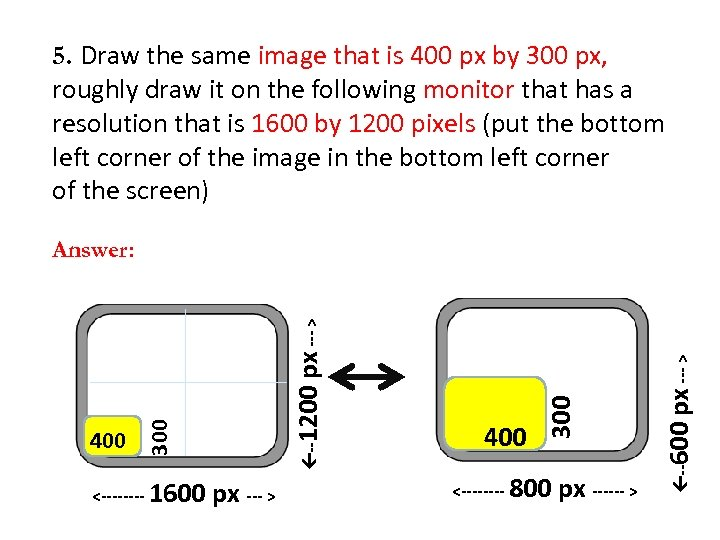 5. Draw the same image that is 400 px by 300 px, roughly draw