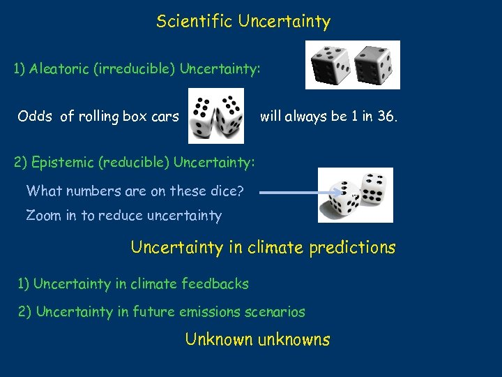 Scientific Uncertainty 1) Aleatoric (irreducible) Uncertainty: Odds of rolling box cars will always be