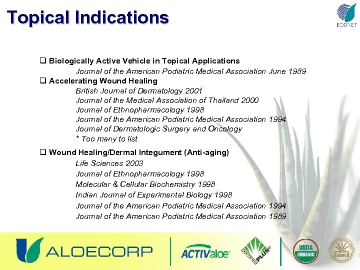 Topical Indications q Biologically Active Vehicle in Topical Applications Journal of the American Podiatric