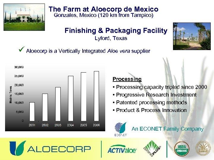 The Farm at Aloecorp de Mexico Gonzales, Mexico (120 km from Tampico) Finishing &
