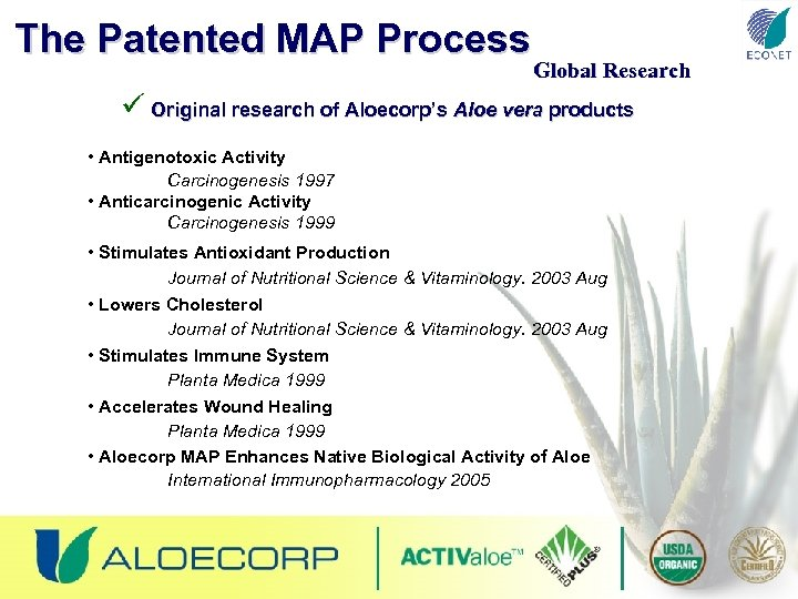 The Patented MAP Process Global Research ü Original research of Aloecorp's Aloe vera products