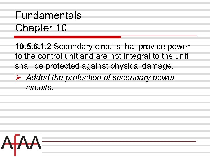 Fundamentals Chapter 10 10. 5. 6. 1. 2 Secondary circuits that provide power to