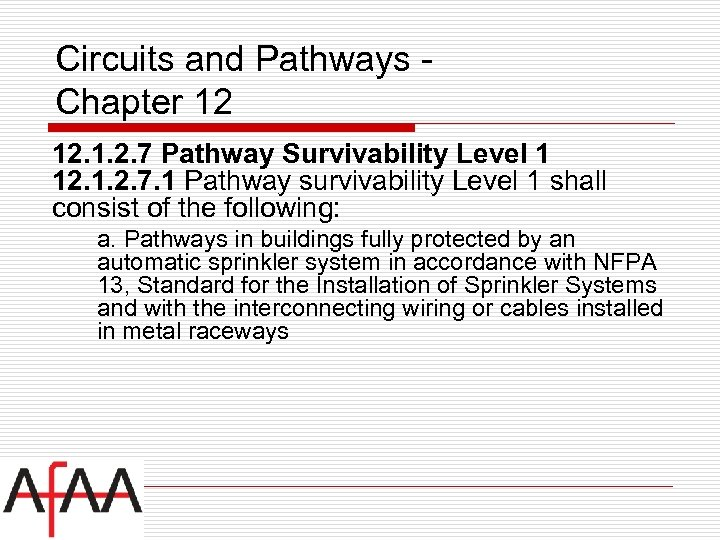 Circuits and Pathways Chapter 12 12. 1. 2. 7 Pathway Survivability Level 1 12.