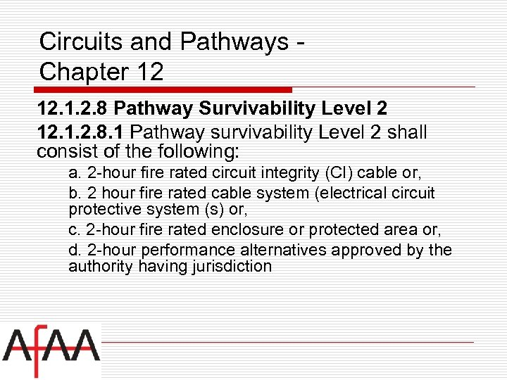 Circuits and Pathways Chapter 12 12. 1. 2. 8 Pathway Survivability Level 2 12.