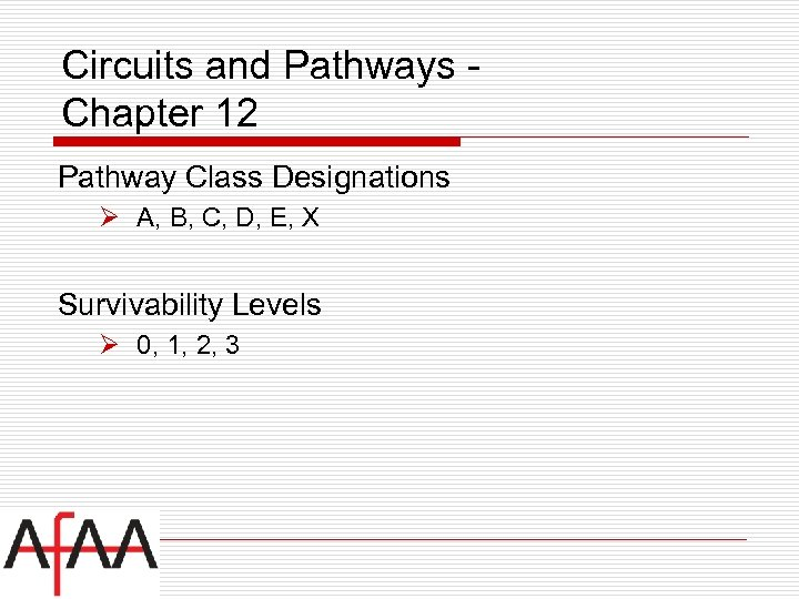 Circuits and Pathways Chapter 12 Pathway Class Designations Ø A, B, C, D, E,