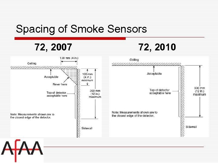 Spacing of Smoke Sensors 72, 2007 72, 2010
