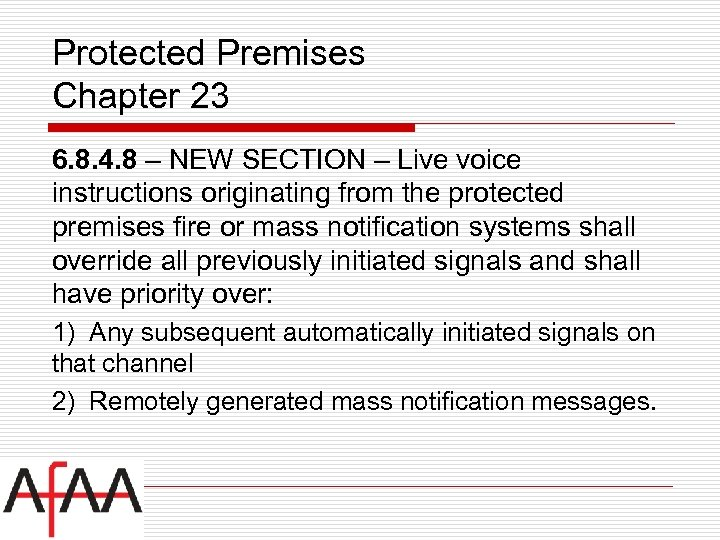 Protected Premises Chapter 23 6. 8. 4. 8 – NEW SECTION – Live voice