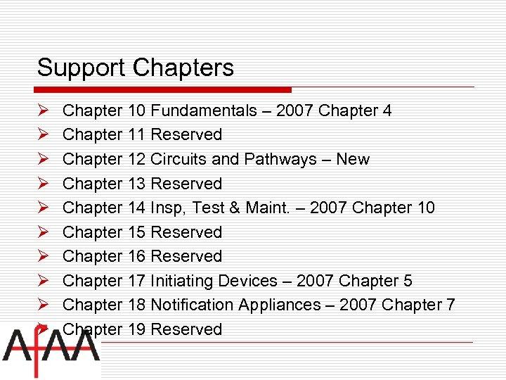 Support Chapters Ø Ø Ø Ø Ø Chapter 10 Fundamentals – 2007 Chapter 4