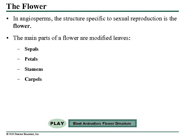 The Flower • In angiosperms, the structure specific to sexual reproduction is the flower.