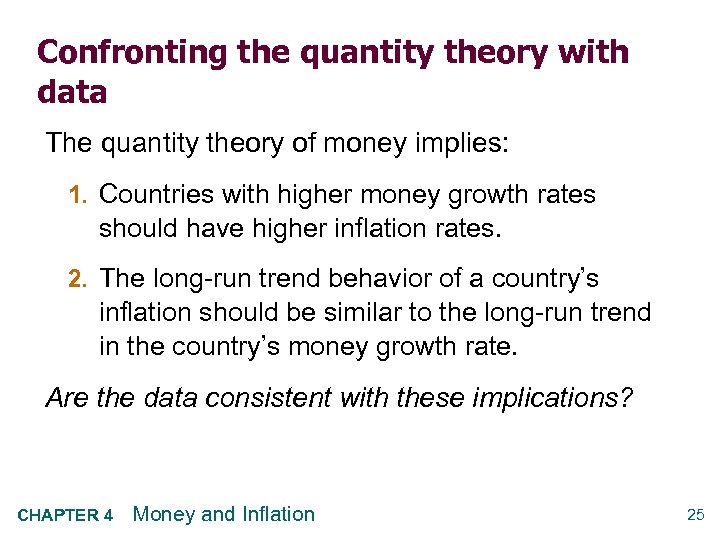 Confronting the quantity theory with data The quantity theory of money implies: 1. Countries