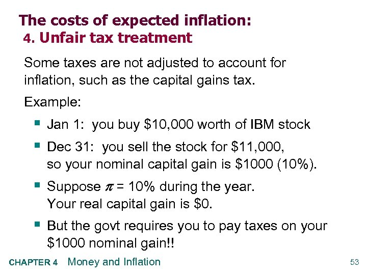 The costs of expected inflation: 4. Unfair tax treatment Some taxes are not adjusted