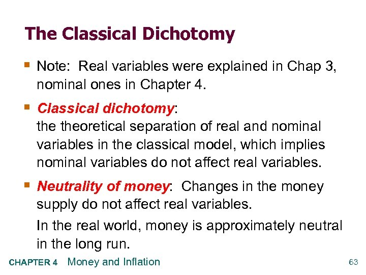 The Classical Dichotomy § Note: Real variables were explained in Chap 3, nominal ones
