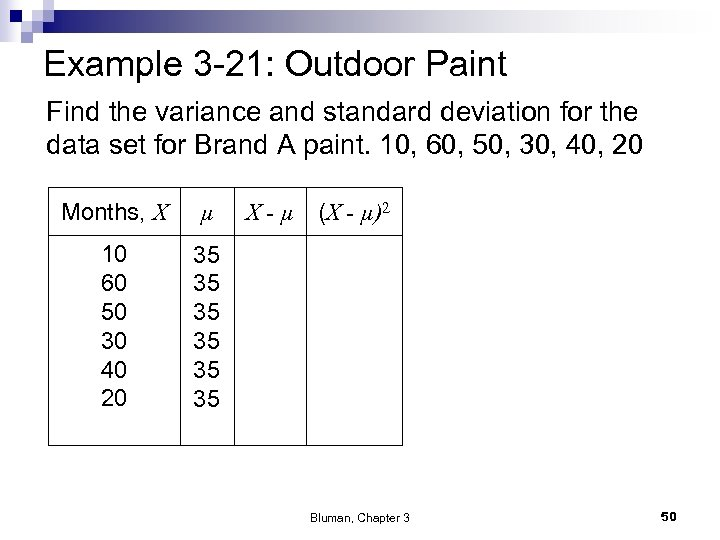 Example 3 -21: Outdoor Paint Find the variance and standard deviation for the data