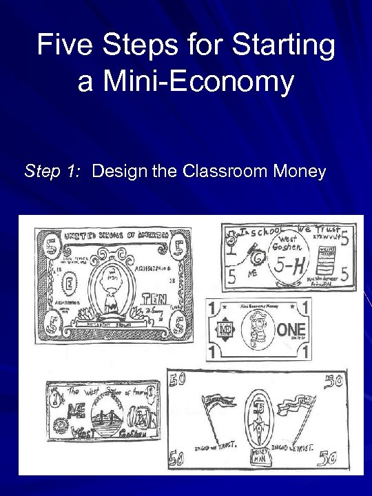 Five Steps for Starting a Mini-Economy Step 1: Design the Classroom Money