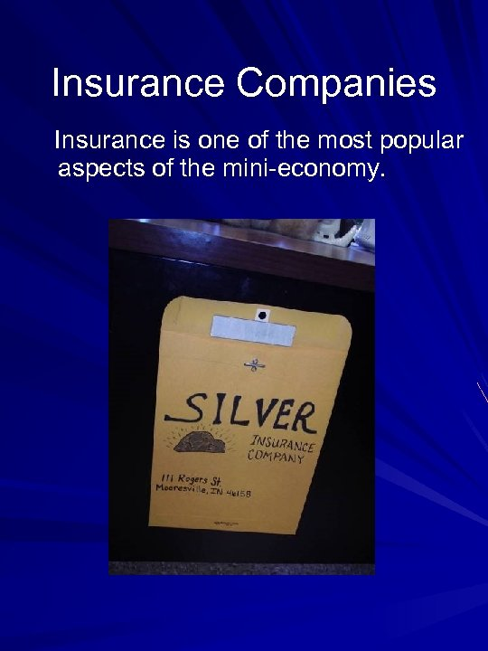 Insurance Companies Insurance is one of the most popular aspects of the mini-economy.