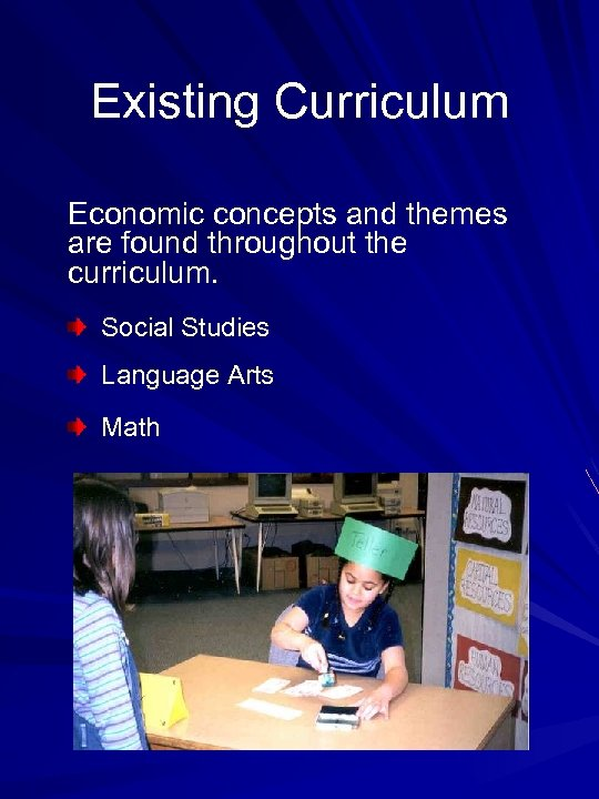 Existing Curriculum Economic concepts and themes are found throughout the curriculum. Social Studies Language