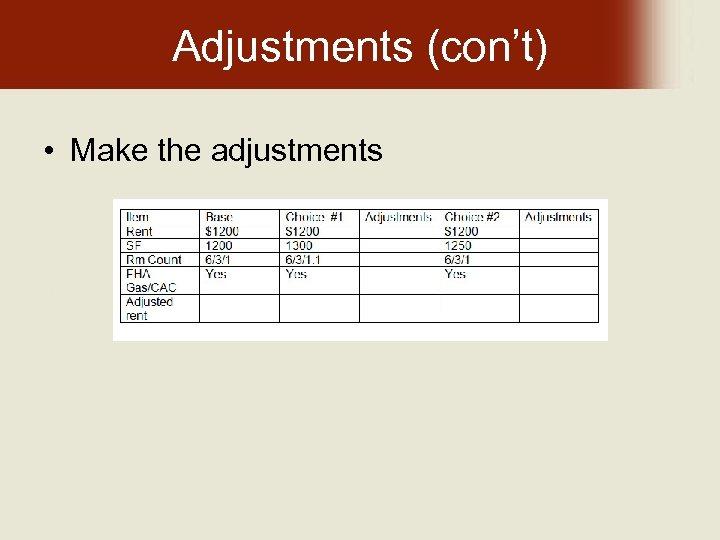 Adjustments (con't) • Make the adjustments