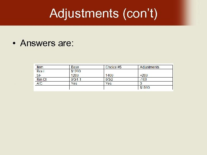 Adjustments (con't) • Answers are:
