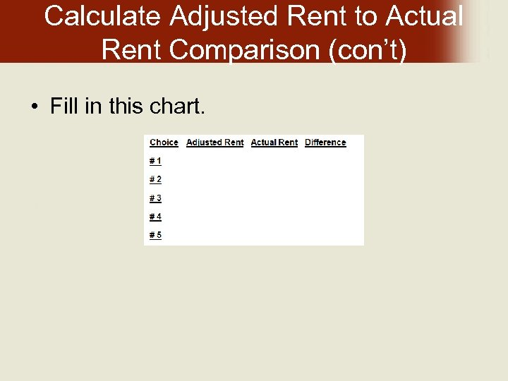 Calculate Adjusted Rent to Actual Rent Comparison (con't) • Fill in this chart.