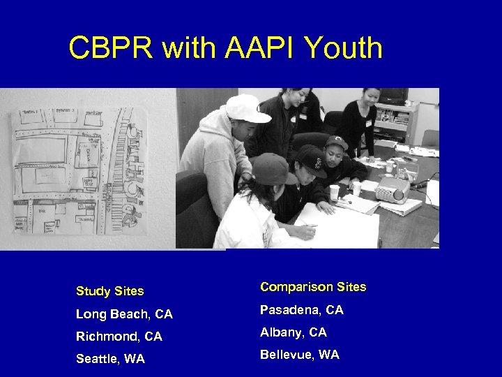 CBPR with AAPI Youth Study Sites Comparison Sites Long Beach, CA Pasadena, CA Richmond,