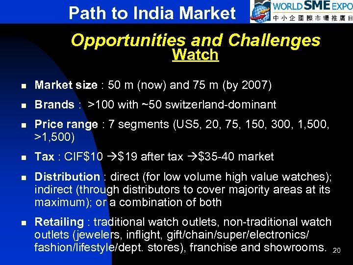 Path to India Market Opportunities and Challenges Watch n Market size : 50 m