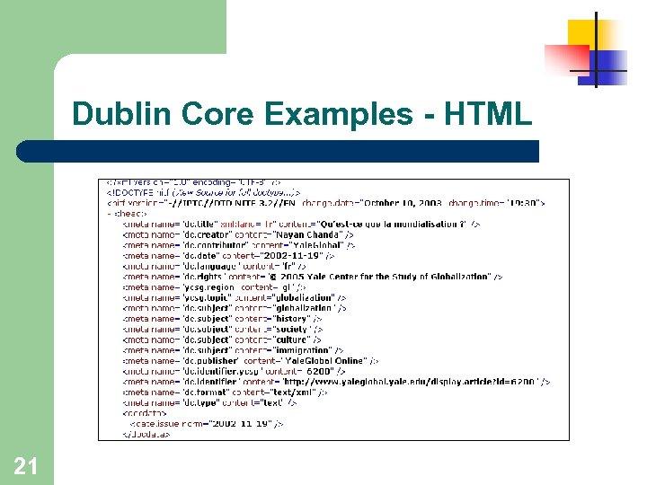 Dublin Core Examples - HTML 21