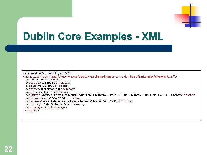 Dublin Core Examples - XML 22