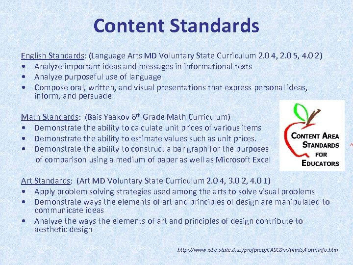 Content Standards English Standards: (Language Arts MD Voluntary State Curriculum 2. 0 4, 2.