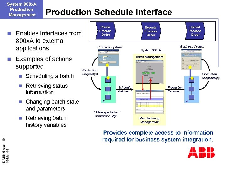 System 800 x. A Production Management n n Production Schedule Interface Enables interfaces from