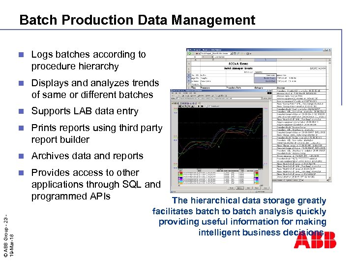 Batch Production Data Management Logs batches according to procedure hierarchy n Displays and analyzes