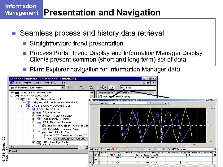 Information Management n Presentation and Navigation Seamless process and history data retrieval Straightforward trend