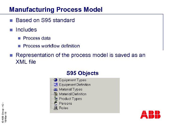 Manufacturing Process Model n Based on S 95 standard n Includes n n n
