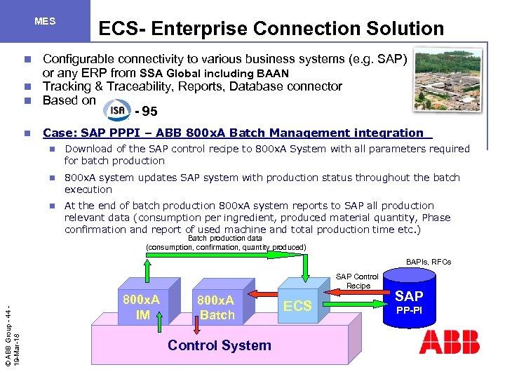 MES ECS- Enterprise Connection Solution Configurable connectivity to various business systems (e. g. SAP)