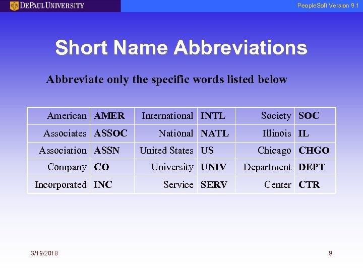 People. Soft Version 9. 1 Short Name Abbreviations Abbreviate only the specific words listed