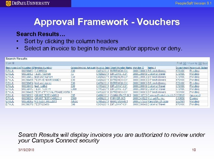 People. Soft Version 9. 1 Approval Framework - Vouchers Search Results… • Sort by