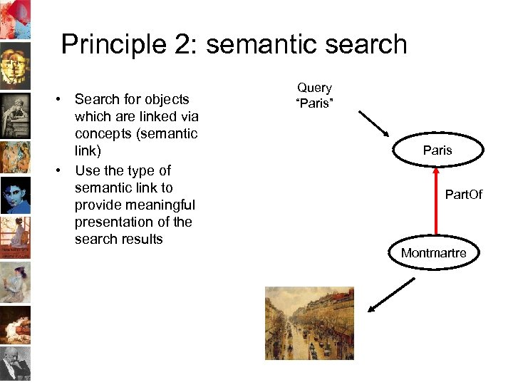 Principle 2: semantic search • Search for objects which are linked via concepts (semantic