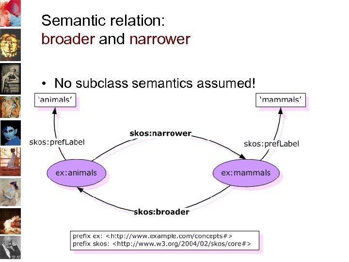 Semantic relation: broader and narrower • No subclass semantics assumed! 34