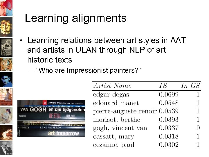 Learning alignments • Learning relations between art styles in AAT and artists in ULAN