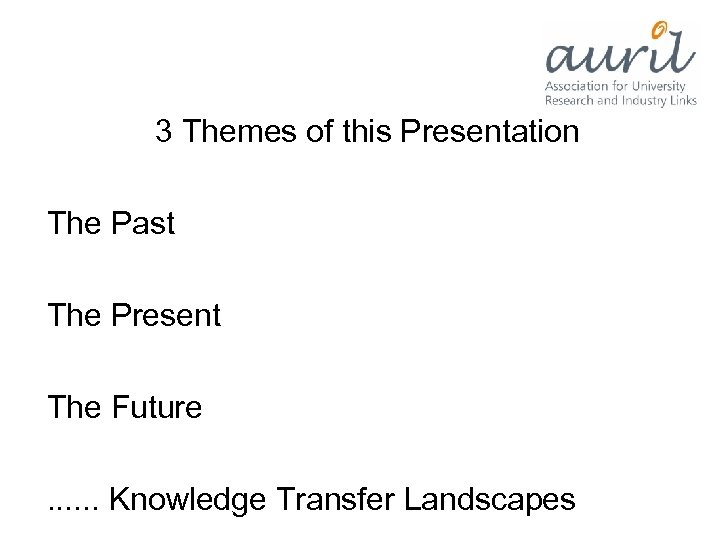 3 Themes of this Presentation The Past The Present The Future. . .