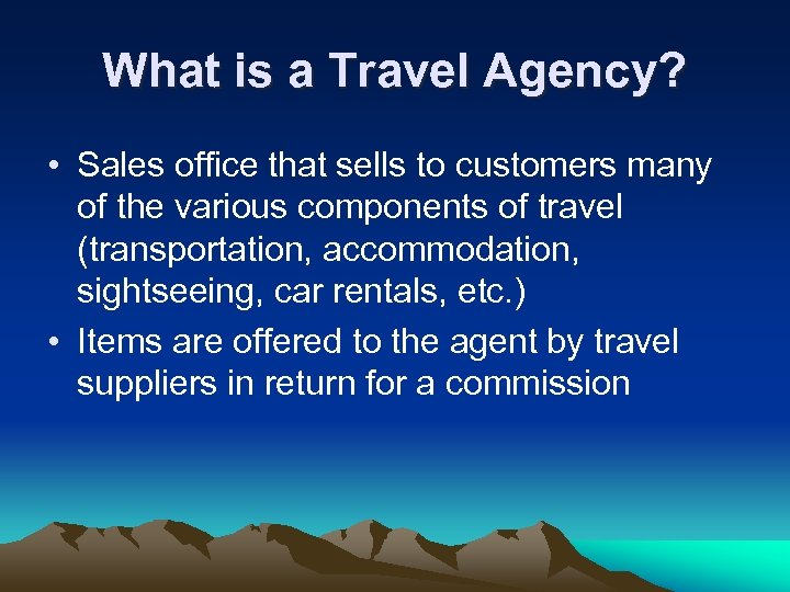 What is a Travel Agency? • Sales office that sells to customers many of
