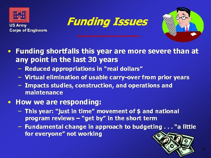 US Army Corps of Engineers Funding Issues • Funding shortfalls this year are more