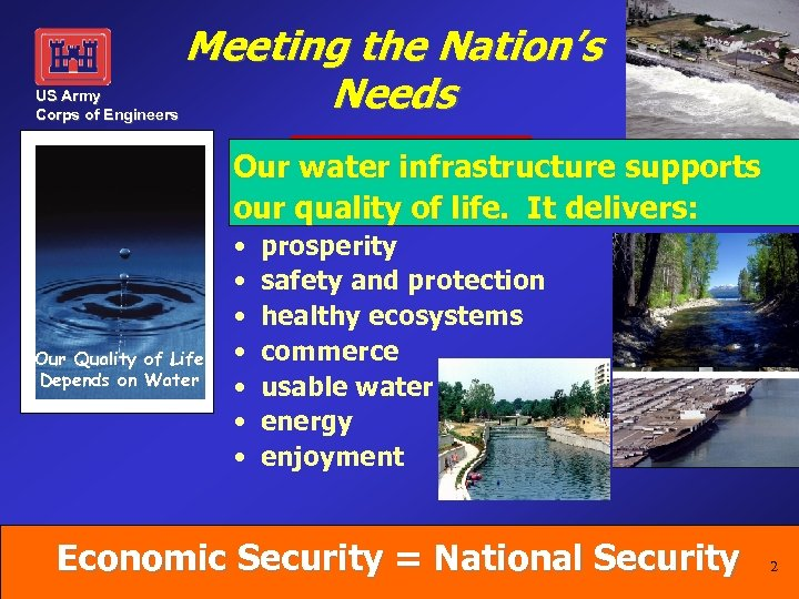 US Army Corps of Engineers Meeting the Nation's Needs Our water infrastructure supports our