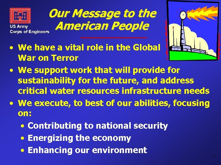 Our Message to the American People US Army Corps of Engineers • We have