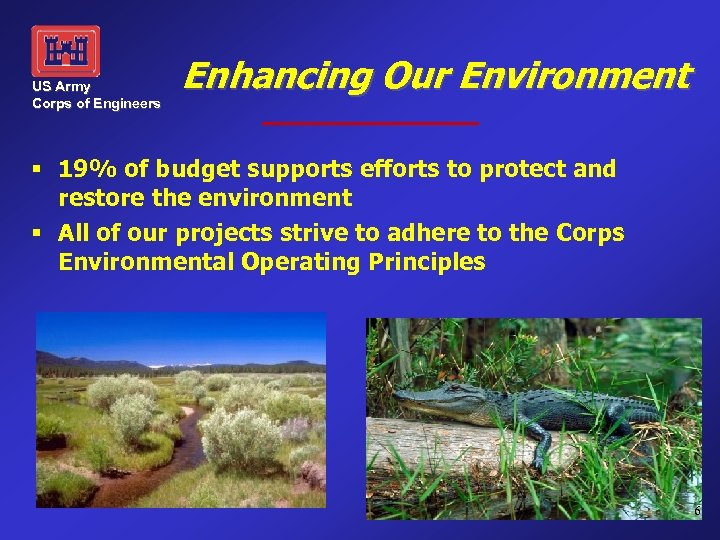 US Army Corps of Engineers Enhancing Our Environment § 19% of budget supports efforts